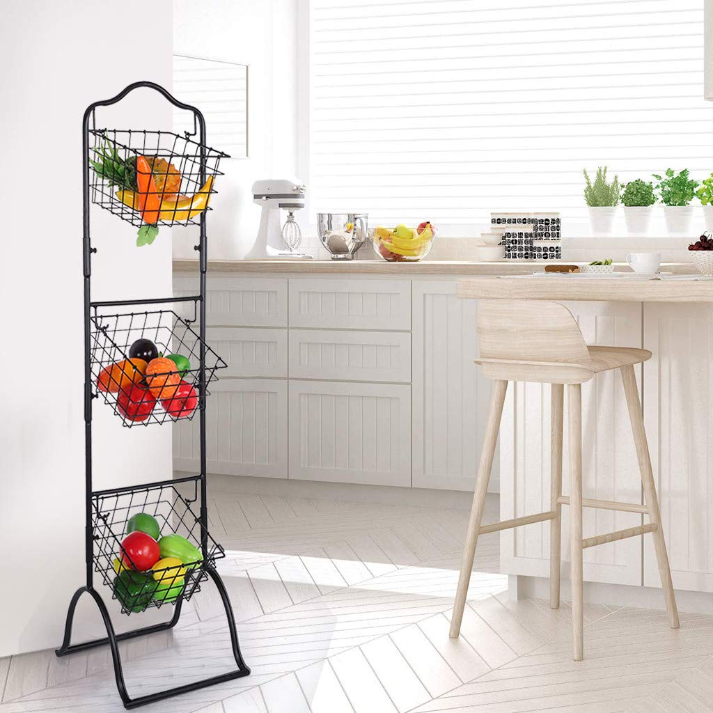 Three-Layer Removable Storage Basket Fruit and Vegetable Display Rack