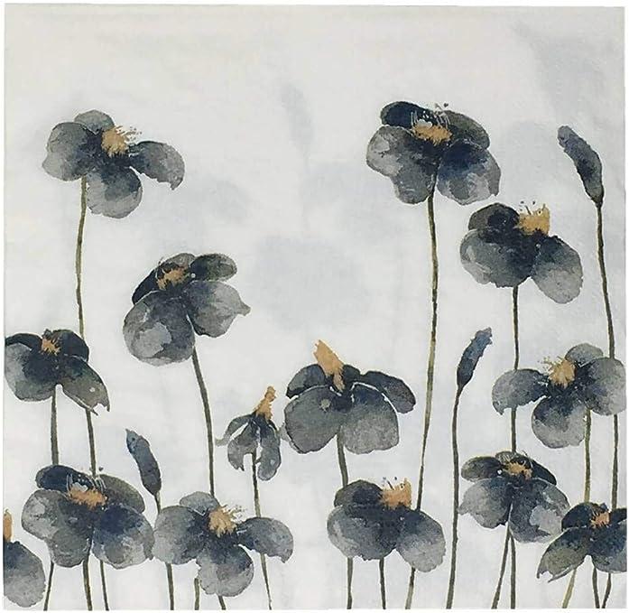Paper Napkins Blue Iris Floral Disposable 3 Ply Luncheon /& Cocktail Serviette