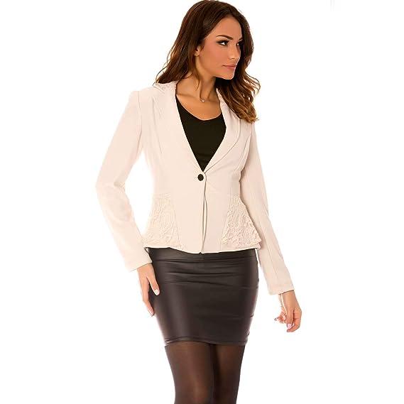 960f6f956f Miss Wear Line - Giacca da Abito - Donna Beige S: Amazon.it ...