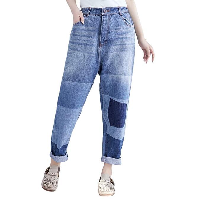 47af66a29d YuanDian Donna Baggy Pantaloni Harem Jeans Cavallo Basso Loose Fit alla  Turca Stile Aladino Hippie Casuale Oversized Ricamo Larghi Denim Turca  Hippy ...