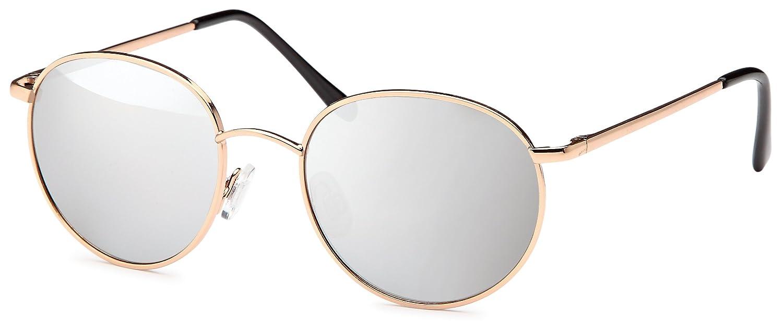 Vintage Vollrand- Sonnenbrille Runde Form Metall Sonnenbrille Verspiegelt Unisex- UV400 Schutz (goldfarben, gelb verspiegelt)
