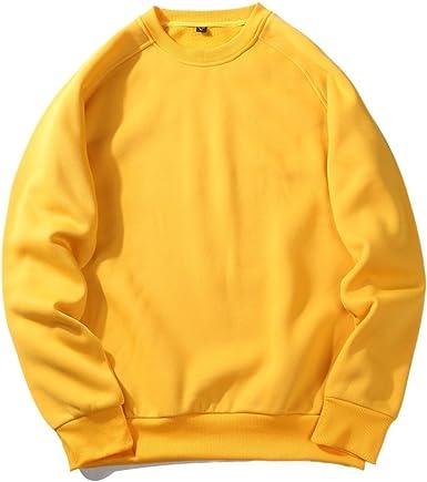 Hombres Pullover Fleece algodón Crewneck otoño invierno manga ...