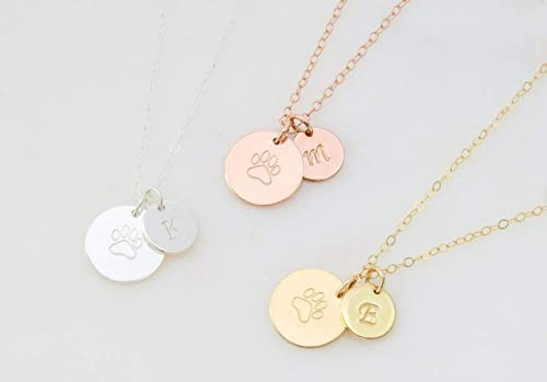 Personalized Dog Necklace Bar Dog Mom Dog Jewelry Dog Necklace for Women Dog Memorial Gift Paw Print Personalized Pet Name Dog Paw