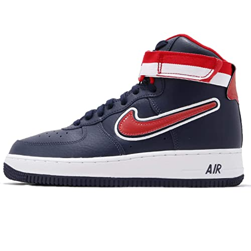 Nike Men's Air Force 1 High 07 LV8 Sport, Midnight Navy/University RED, 8.5  M US