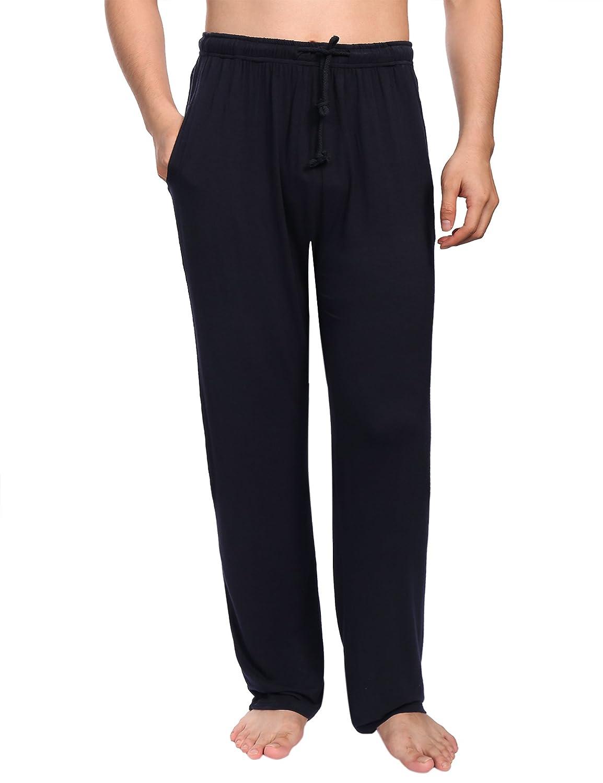 Aibrou Pantalones de Pijama Hombre Largos con Cinturón de Forro Polar Modal, Suave, Comodo, Ajustable y Transpirable: Amazon.es: Ropa y accesorios