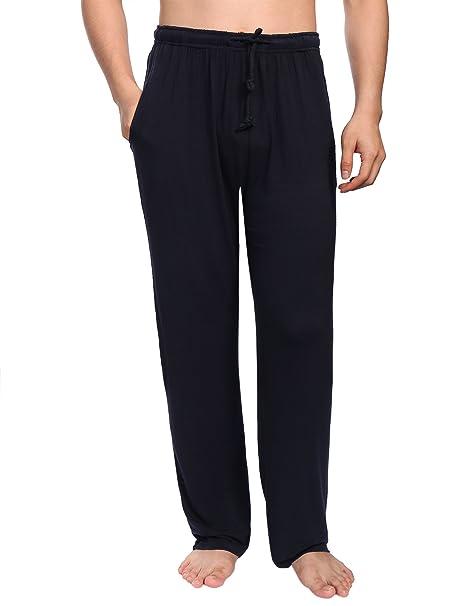 Aibrou Pantalones de Pijama Hombre Largos con Cinturón de Forro Polar Modal,Suave,Comodo