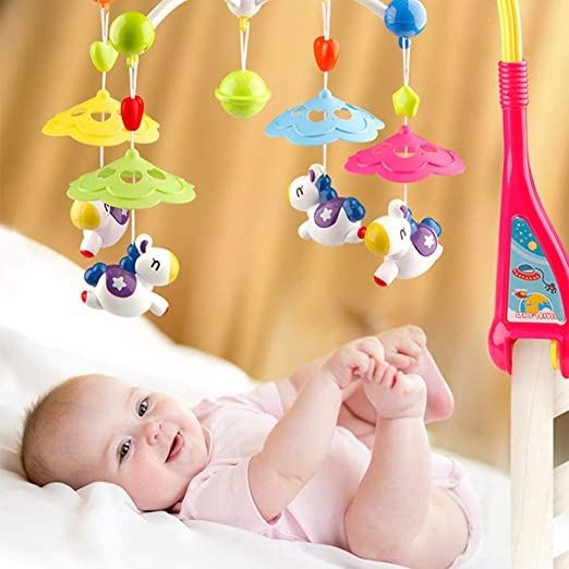 Baby Musical Mobile Crib Cot Music Box Bed Bell Musical Mobiles with 30 Melodies Pink Foldable Travel Take Along Mobile for Girl//Boy with Star Projector /& Hanging Rotating Toys