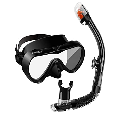 ANGGO Snorkel Set, Anti-Fog Diving Mask with Impact Resistant Panoramic Tempered Glass,