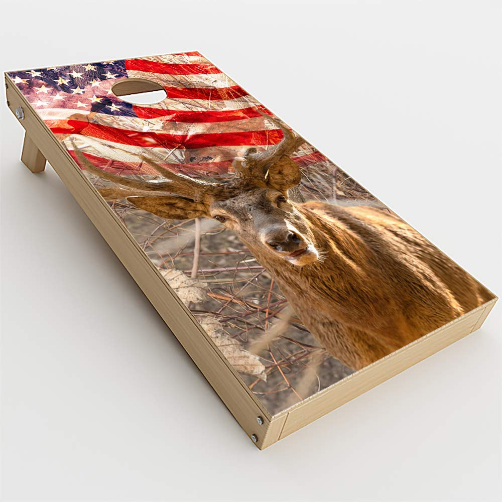 Skin Decals Vinyl Wrap for Cornhole Game Board Bag Toss (4 pcs.) Includes Dry Erase Marker and Scoreboard   Camo Deer and US Flag