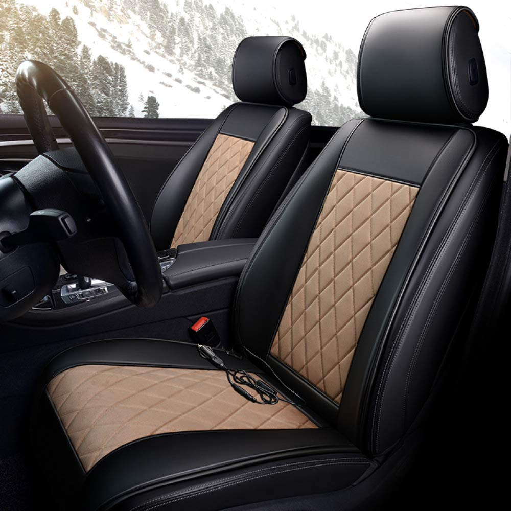 Sitzheizung Auto Auflage,Beige liangh Massage Sitzauflage Mit W/ärme F/ür R/ücken Und K/öper,zuhause Im B/üro Und Im Auto