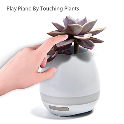 Music Plant Pot, Smart Flowerpot- Colorful Light wireless Bluetooth Speaker, 360 sound, Long-Time Play Touch Music Plant Lamp for Bedroom Home Office (White)