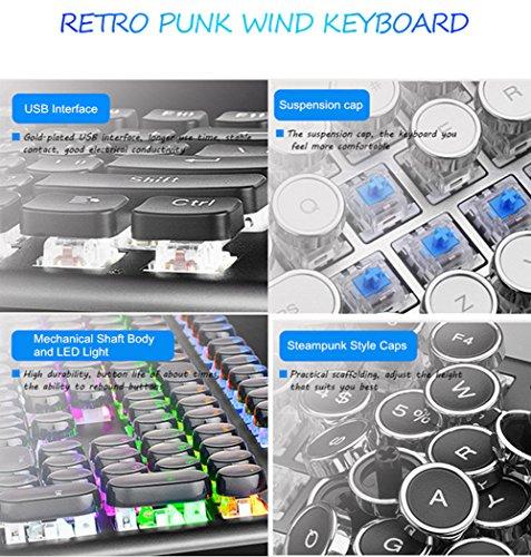 AIURTECHNIC Mechanical Keyboard Black Switch Axis USB Typewriter Retro Steampunk 104keys Keyboard with White LED Backlit… 4