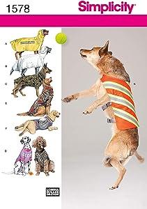Simplicity 1578 Dog Jacket and Clothing Sewing Patterns, Medium