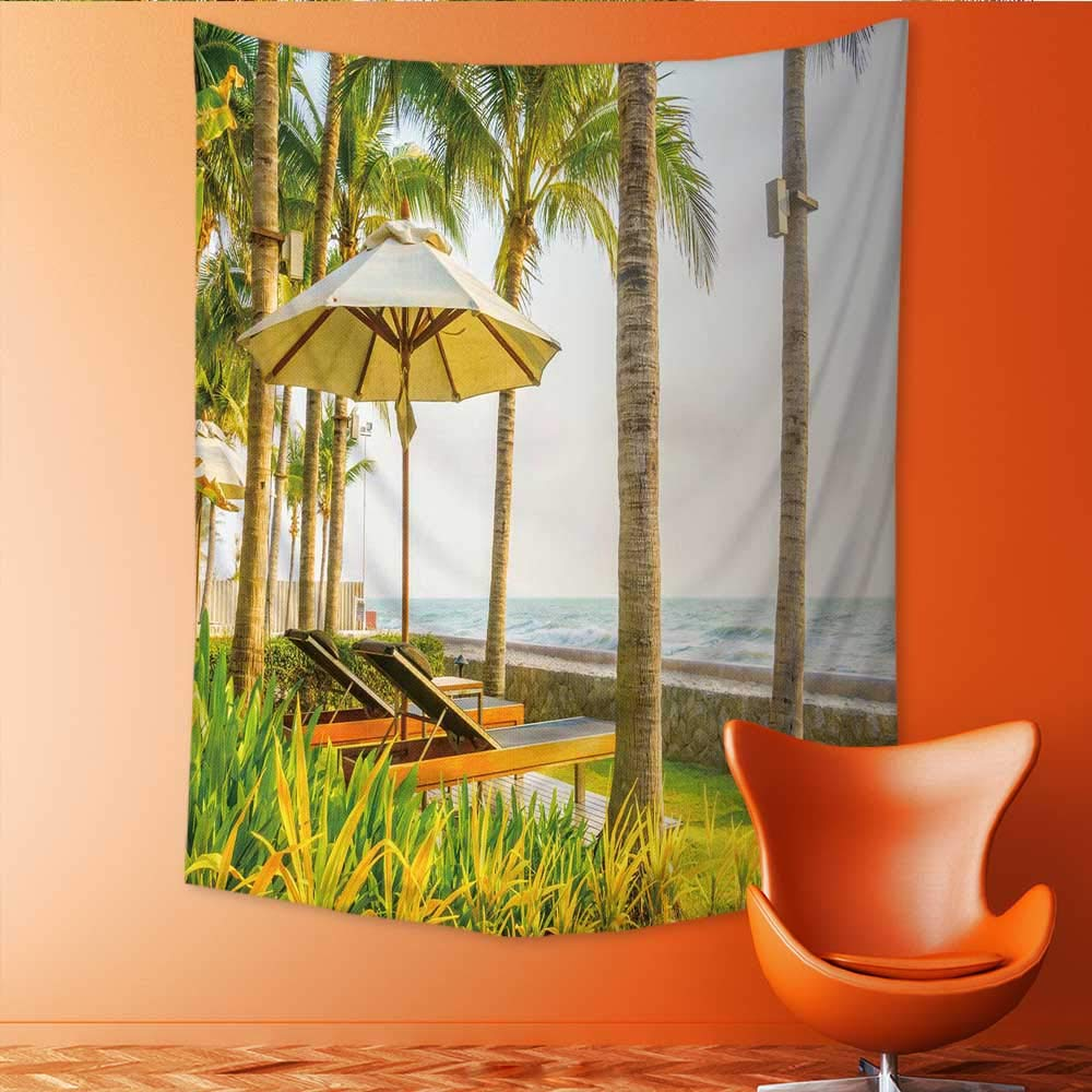 Auraisehome Vertical Version Tapestry Beautiful Luxury Umbrella and Chair Around Swimming Pool in Hotel Pool Resort Vintage Light Filter Throw, Bed, Tapestry, or Yoga Blanket 51W x 60L INCH