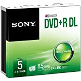 Sony DVD+R 8.5Gb 215 minutes DL Slim Case Pack of 5 5DPR85SS