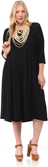 Women's A-Line Trapeze Plus Size Midi Dress