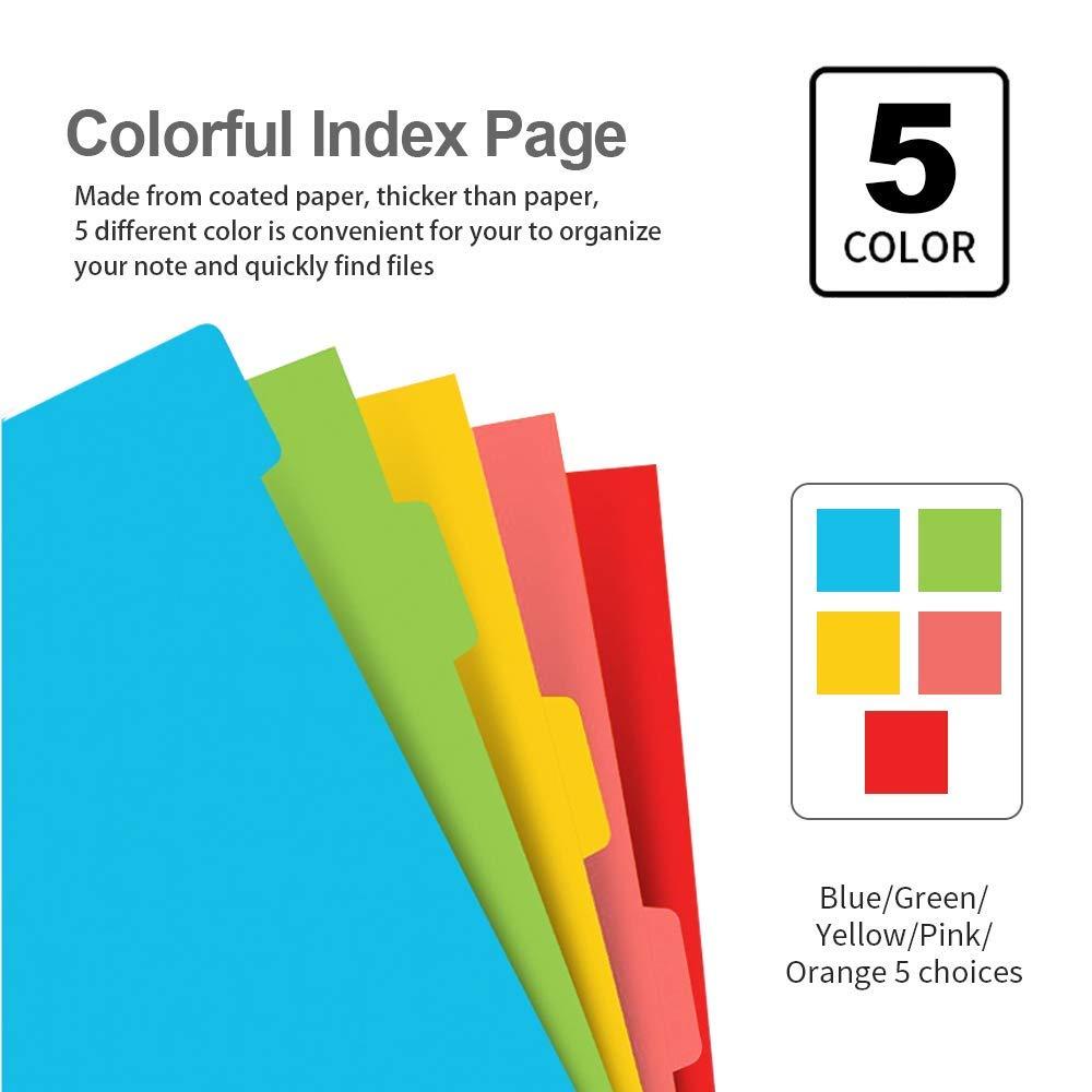5 diviseurs de sujet A5 couleur 240 pcs paquet de 2 intercalaires pour planificateur de feuilles A5 Ensemble ordinateur portable A5 rechargeable LATERN papier lign/é