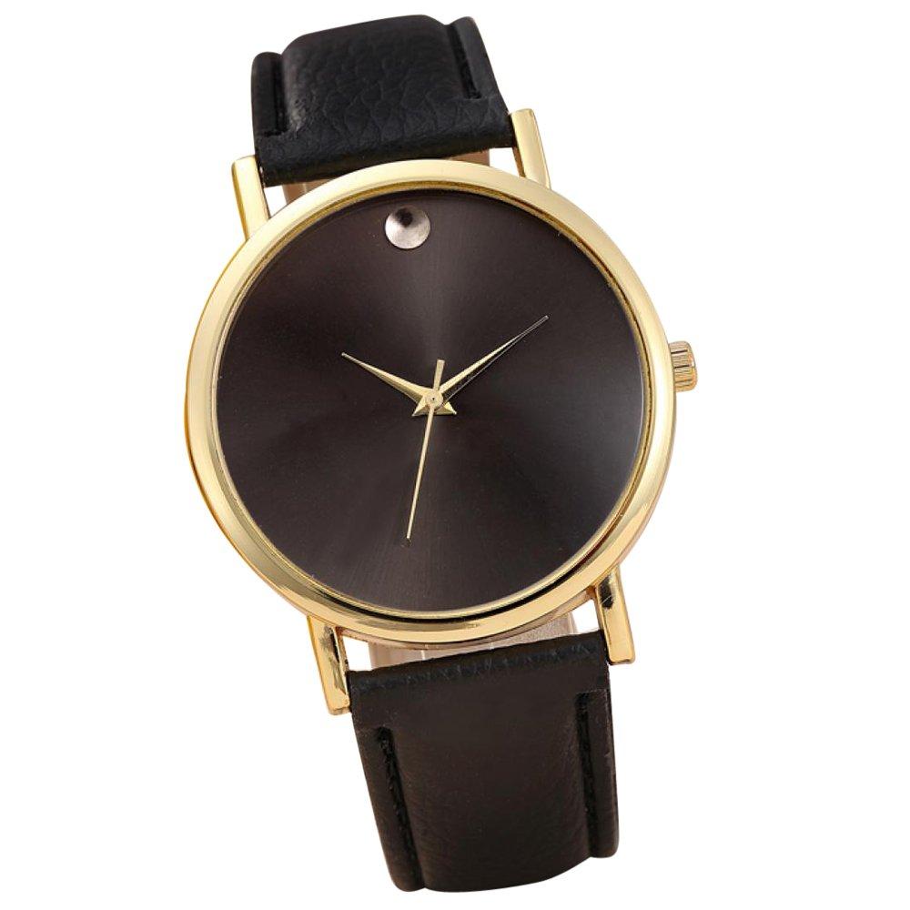Start Women's Retro Design Leather Band Wrist Watch Bracelet (black (Gold Edge))