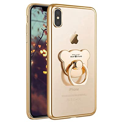 PHEZEN Compatible with iPhone X Case iPhone Xs Case Crystal Clear TPU Case Soft Silicone Rubber Cover Phone Case with Bear Ring Stand Ultra-Thin Transparent Case for iPhone X/XS,Gold