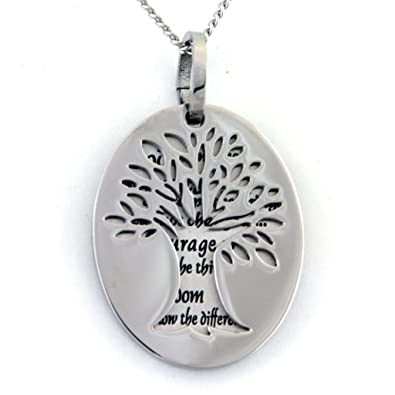 Two piece serenity prayer pendant necklace with tree of life cut out two piece serenity prayer pendant necklace with tree of life cut out prayer necklace mozeypictures Gallery