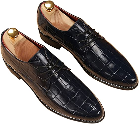 Fashion Mens Vintage Lace Up Casual Leather Alligator Pattern Casual Dress Shoes