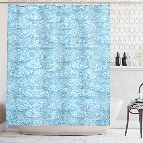 Ambesonne Blue Sky with Clouds Decor Collection, Ocean Waves Eastern Chinese Art Abstract Curls Stripes Design, Polyester Fabric Bathroom Shower Curtain Set with Hooks, 75 Inches Long, Blue - Chinese Designs Fabric