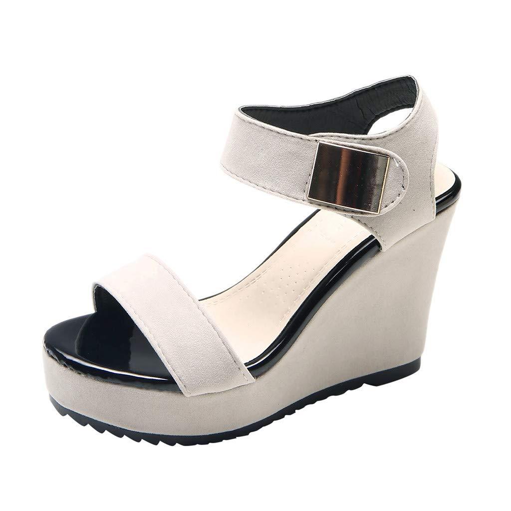 refulgence Women's Wedge Sandals, Fashion Casual Open Toe Platforms Shoes Peep Toe High Heel Shoes(Beige,US=7.5)