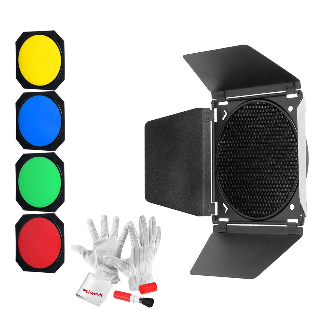 Godox BD-04 Barn Door with Honeycomb Grid and 4 Color Gel Filters (Red Yellow Blue Green) for Godox QT600IIM/QT400IIM