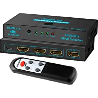 HDMI Switch SGEYR 3x1 Metal HDMI Switcher 3 in 1 Out HDMI Switcher Selector 3 Port with IR Remote Control HDMI Selector Box HDMI 1.4 HDCP 1.4 Support 4K@30Hz Ultra HD 3D 2160P 1080P