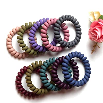 18 Hair Spiral Bobbles Coil Elastic Tie Bands Stretchy Plastic Tangle Free Girls