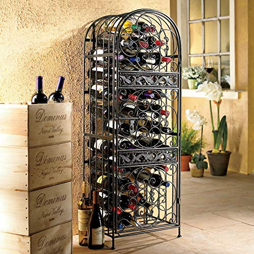 45-Bottle Renaissance Wrought Iron Wine Holder Stand, Sophisticated Wine ()