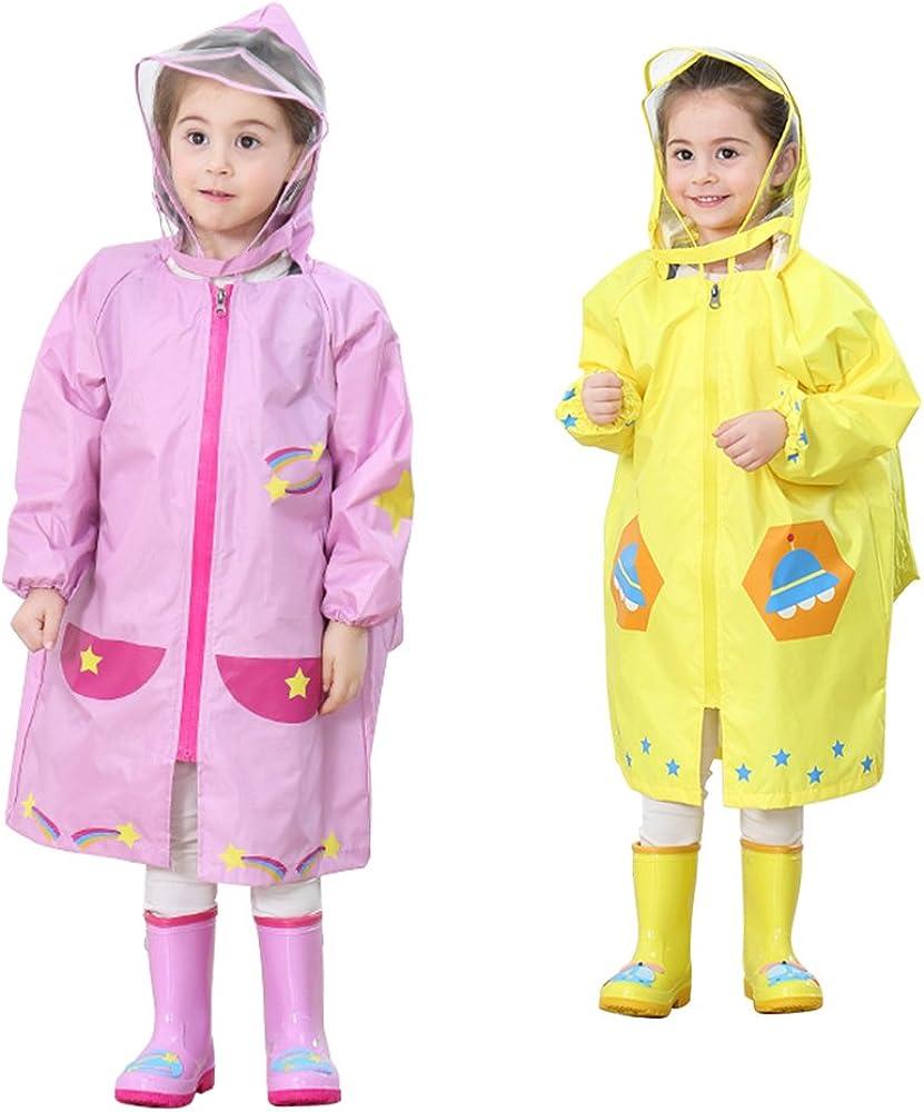 Durable Transparent Rain Poncho Raincoat with Hoods and Sleeves /ï/¼/ˆBlue/ï/¼/‰ Lightweight Reusable Portable Raincoats for Kids EVA Wakauto Child Hooded Raincoat