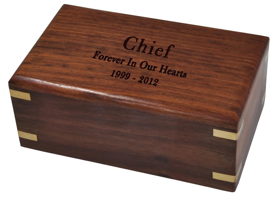 Memorial Gallery Custom Wood Box Pet Urn Medium, Engraved by Memorial Gallery