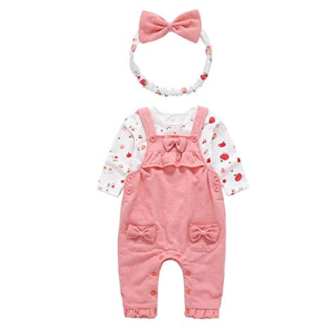 8f1419e374a0 ALLAIBB Toddler Girl Outfit Fruit White Tee + Romper Jumpsuit+ ...