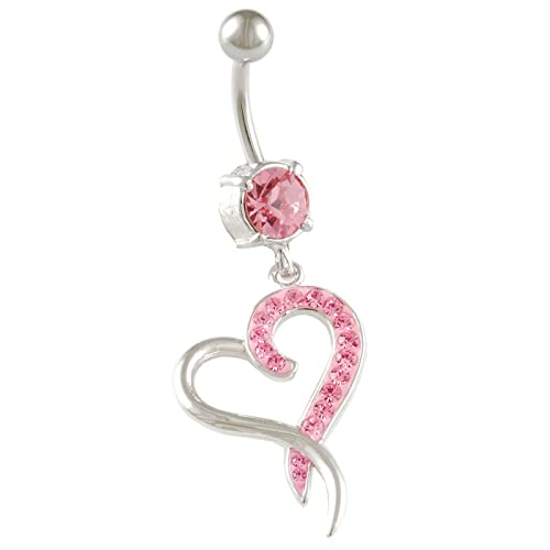 Amazon Com Bodyjewellery Heart Dangle Belly Button Ring Cute Cool