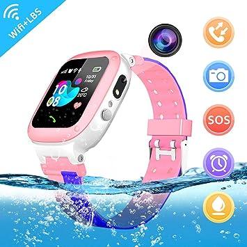 YENISEY Kids Smartwatch,TeléFono A Prueba de Agua LBS Tracker SOS Voice Chat HD Juegos de CáMara con Pantalla TáCtil Kids Smart Watch TeléFono para ...