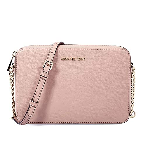 19b5b47c209cc1 MICHAEL KORS Jet Set Travel Large Leather Crossbody Bag (Fawn):  Amazon.co.uk: Shoes & Bags