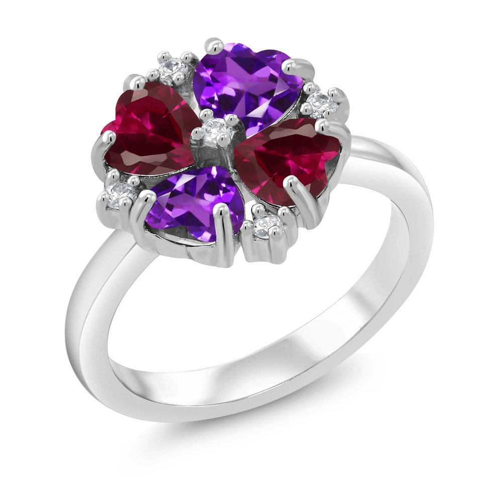 Gem Stone King 2.08 Ct Heart Shape Purple Amethyst Red Created Ruby 925 Sterling Silver Ring (Size 9)