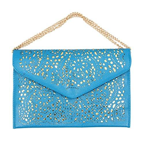 TOOGOO(R) Vintage Nacional Bolso de la tendencia de mujer Bolsa del sobre del recorte Bolsa crossbody de hombro Bolsa de mujer de embrague Azul Azul
