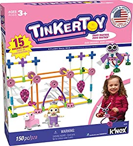 TINKERTOY - Pink Building Set - 150 Pieces - Ages 3+ - Preschool Educational Toy