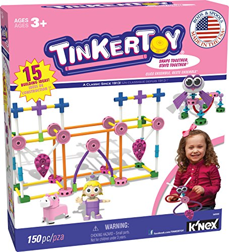 TINKERTOY – Pink Building Set – 150 Pieces – Ages 3+ – Preschool Educational Toy
