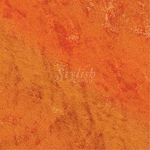 Orange Upholstery Fabric - Crushed Panne Velour Fabric Orange by the yard or wholesale - 1 Yard