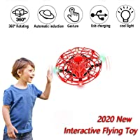 UFO Flying Toy for Kids, Mini Drone with Intelligent Induction, Hand Operated Drones Toy Can Rotate 360°, Upgraded Flying Ball Toy with USB Rechargeable Indoor Drone, Gifts for 4-12 Years Old (Red)