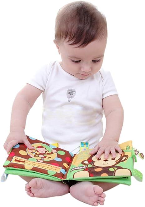Livre /à Toucher Exercice de Intelligence Jouet Educatif Cadeau pour B/éb/é de 0 /à 24 Mois PASDD 1PCS Livre en Tissu Jouet B/éb/é Le Livre Jouet d/Éveil Multicolore
