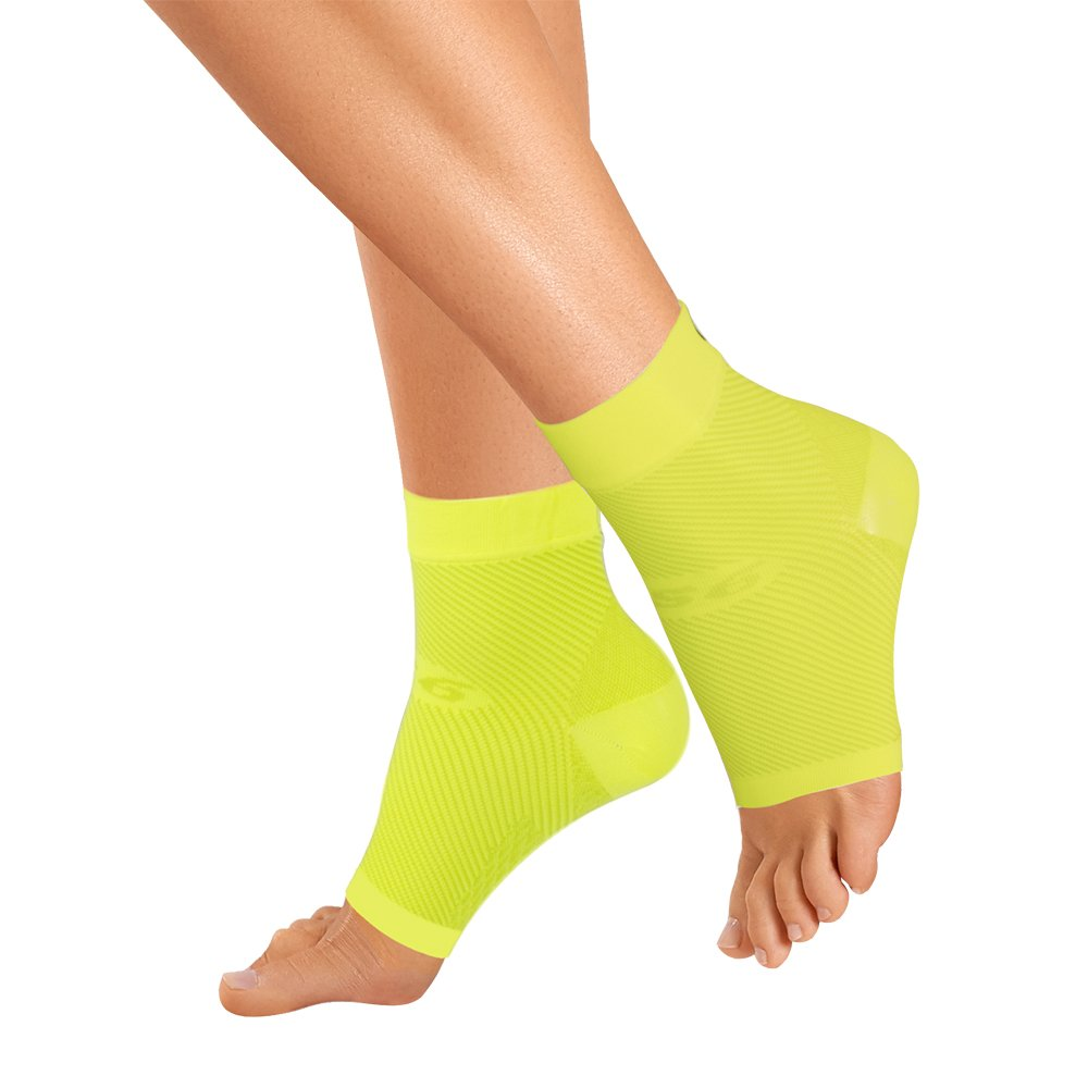 OrthoSleeve FS6 Compression Foot Sleeve (One Pair) for Plantar Fasciitis, Heel Pain, Achilles Tendonitis and Swelling (Reflector Yellow, X-Large) by OrthoSleeve