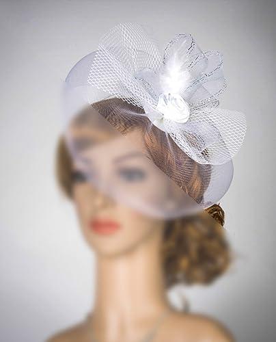 Amazon.com  White Rose Flower Veil Fascinator Veil Wedding Hat Veil   Handmade 532faf94785