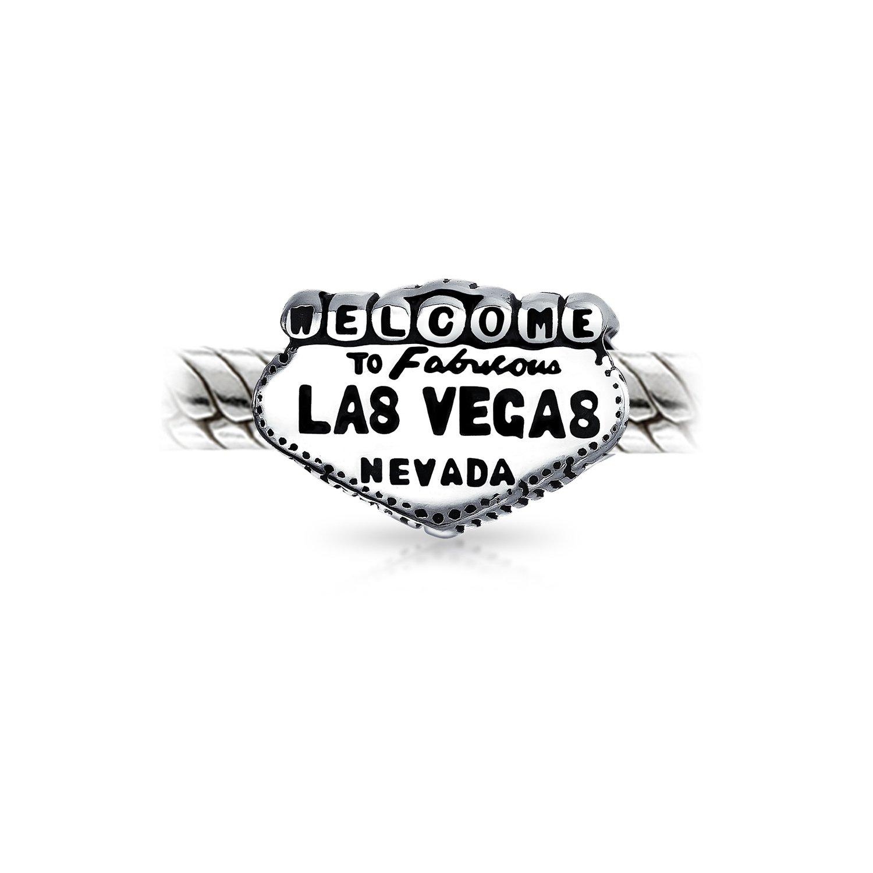 Bienvenue /à Las Vegas Sign Landmark charme voyage en argent Perle Bracelet europ/éen unique