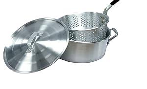 Smart Cook 10-Quart Aluminum Fry Pot with Basket and Lid