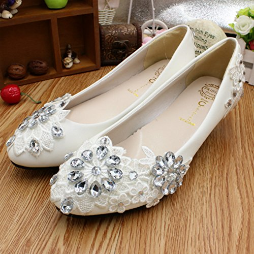 party summer amp; banquet bridesmaid 3CM Rhinestones wedding lace bride dress and heel height Customize handmade Si Flowers and and Women's shoes Spring wYxqx6ad0