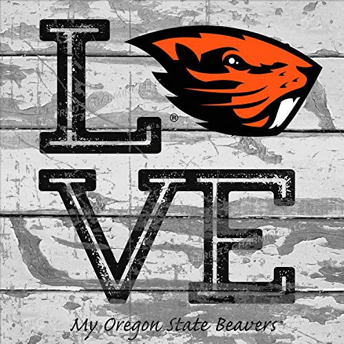 (Prints Charming College Love My Team Beaver Logo Square Oregon State Beavers Unframed Poster 13x13 Inches )